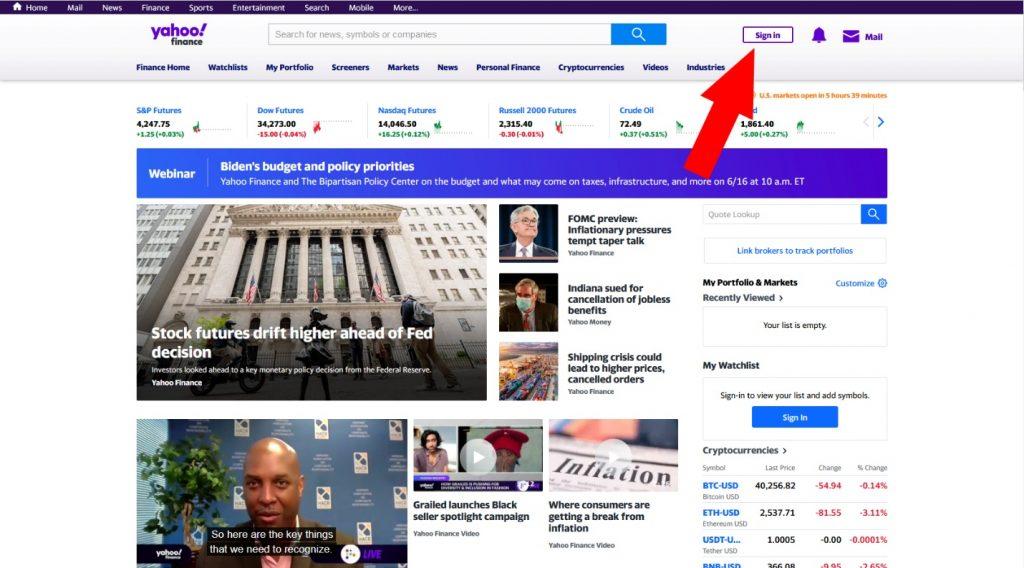 Как зарегистрироваться на Yahoo Finance