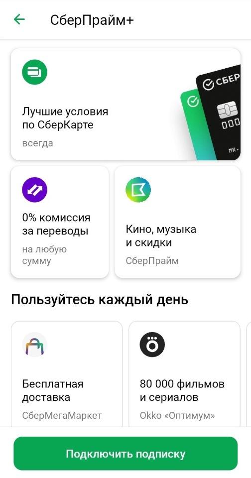 Состав подписки СберПрайм Плюс