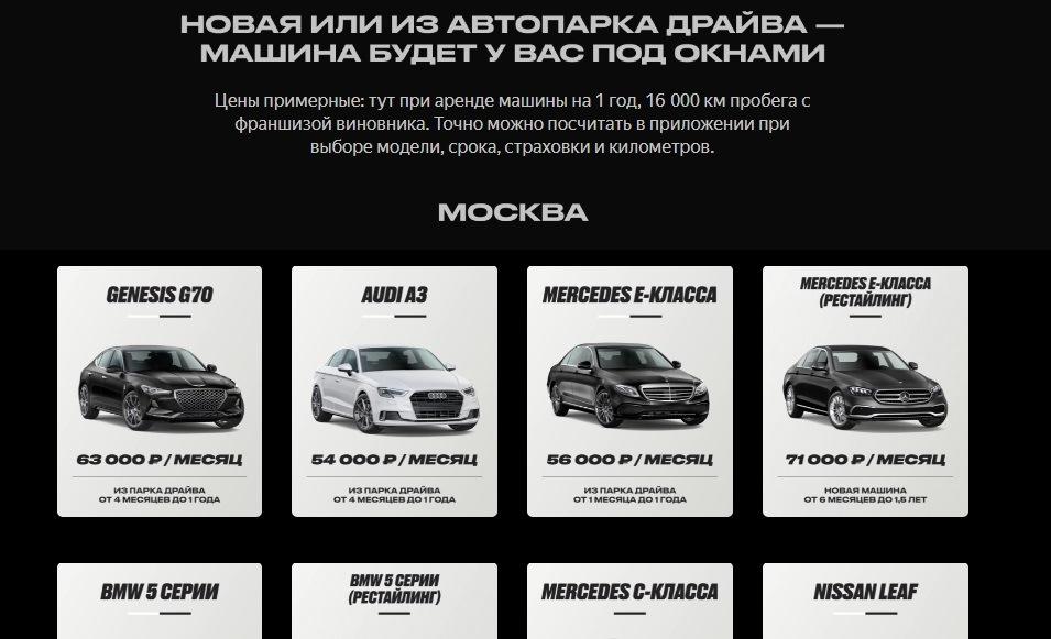 Цены авто Яндекс.Драйв