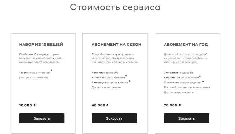 Стоимость Style Concierge